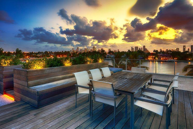 Rooftop Terrace Dining at Sunset