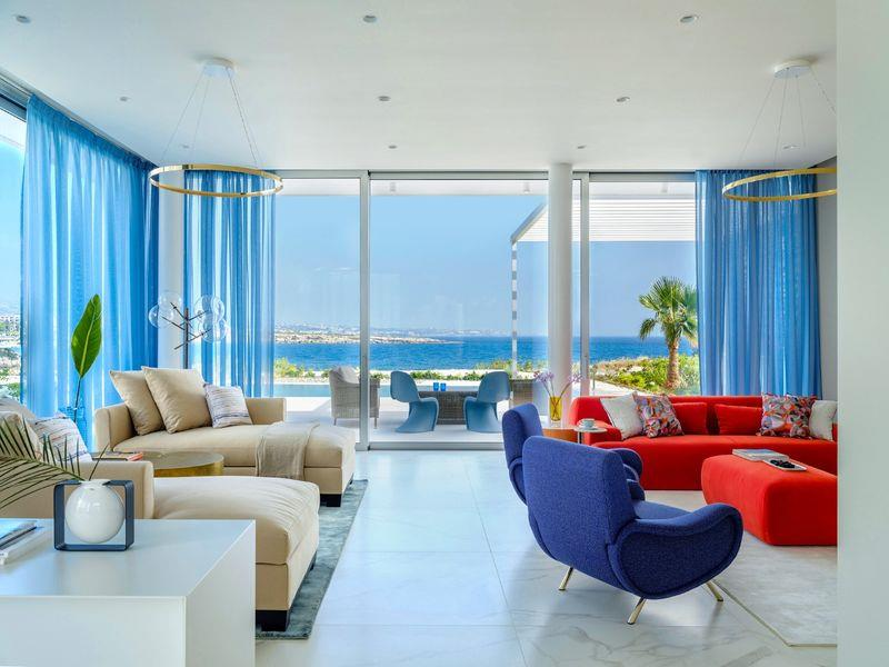 Modern and luxurious interiors with views of the s