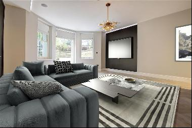 A newly refurbished apartment with a garden that leads onto a communal garden.