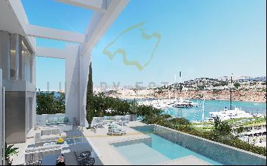 New built villa in Santa Ponsa with views to Port Adriano in the southwest of Mallorca